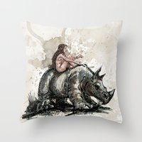 The Girl And The Rhino Throw Pillow