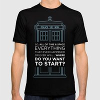 Doctor Who - TARDIS Wher… Mens Fitted Tee Black SMALL