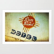 Sun 'n' Sand Motel Route 66 Art Print