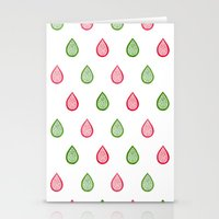 Pink And Green Raindrops Stationery Cards