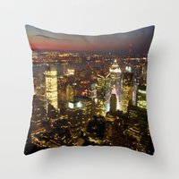 New York Empire State Night Throw Pillow