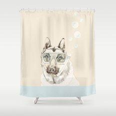 Diver Dog Shower Curtain