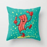 Dancing Bacon! Throw Pillow