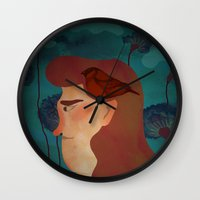 Lady With Bird Wall Clock
