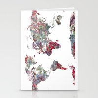 map Stationery Cards featuring World Map  by MapMapMaps.Watercolors