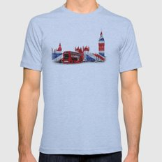 Red London Bus and Big Ben Mens Fitted Tee Athletic Blue SMALL