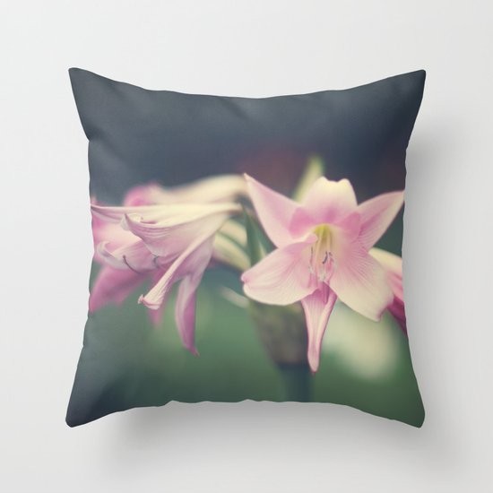 Vintage and Soft Pink Lilies Throw Pillow