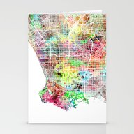 Los Angeles Map Californ… Stationery Cards