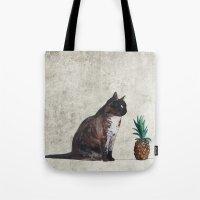 cat and pineapple Tote Bag