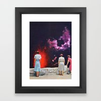 VOLCANO AT NIGHT Framed Art Print