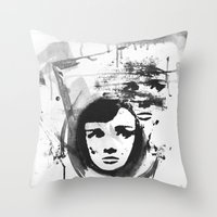 Audrey on a stencil Throw Pillow