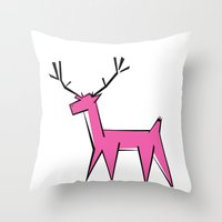 Pink deer  Throw Pillow