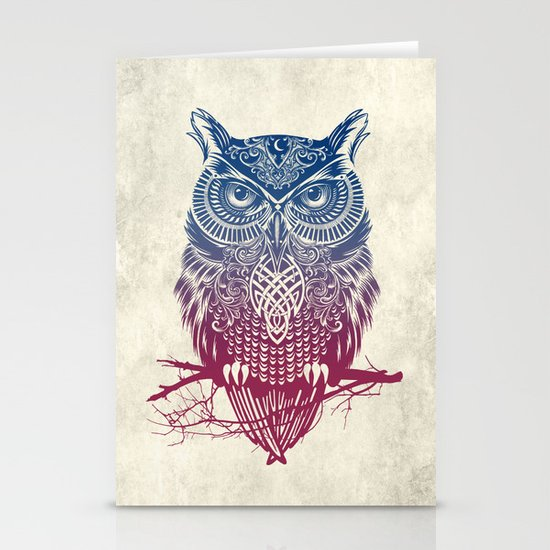 Evening Warrior Owl Stationery Card