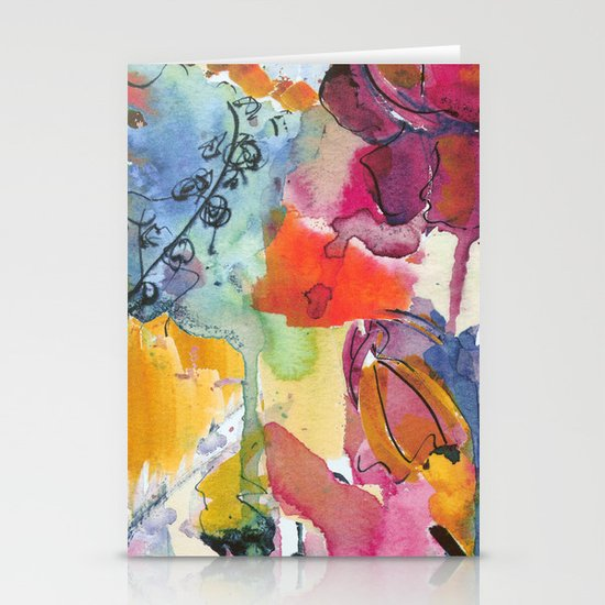 Abstract floral watercolour Stationery Card