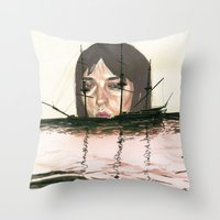 Sinking Ghost Ships Throw Pillow