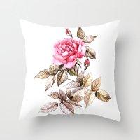 Watercolor rose Throw Pillow