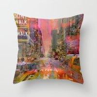 traffic jam pink Throw Pillow