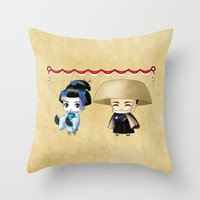 Japanese Chibis Throw Pillow