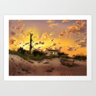 Lighthouse Landscape Sky Art Print