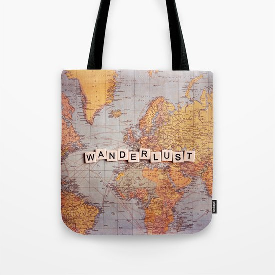 wanderlust map Tote Bag