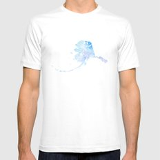 Typographic Alaska - Blue Watercolor print SMALL Mens Fitted Tee White