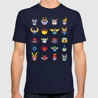 Japanese ROBOTS  Mens Fitted Tee Navy SMALL