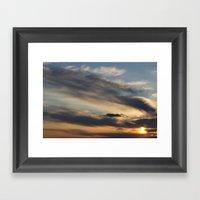 Sunset Over Lake Michiga… Framed Art Print