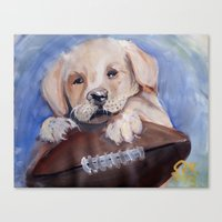 Puppy Touchdown Canvas Print