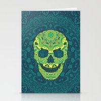 sugar skull Stationery Cards featuring Sugar skull by Julia Badeeva