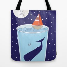 Full Waterglass Moon - Night Fishing Tote Bag