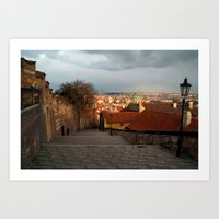 The Steps to Prague Castle Art Print