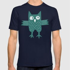 Green Owl Mens Fitted Tee Navy SMALL