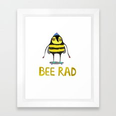 Bee. bee art, bee illustration, nature, illustration, wall, kids, skater, skateboarding, rad,  Framed Art Print