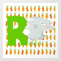 R For Rabbit Art Print
