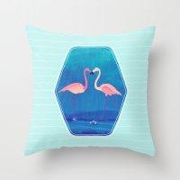 Flamingos in Love Throw Pillow