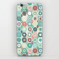 Hex Diamond Coral Mint iPhone & iPod Skin