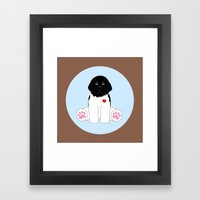 Stuffed Black and White Dog Framed Art Print
