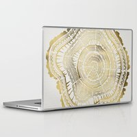 forest Laptop & iPad Skins featuring Gold Tree Rings by Cat Coquillette
