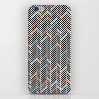 Herringbone Blue and Black #3 iPhone & iPod Skin