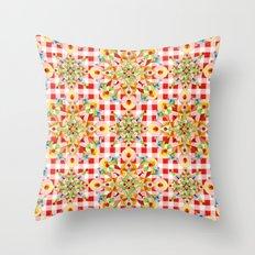 Red Gingham Pastel Mandala Throw Pillow