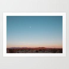 Desert Sky with Harvest Moon Art Print