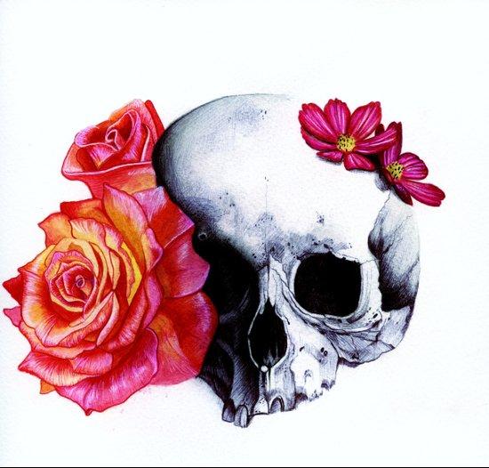 Skull & Roses Art Print