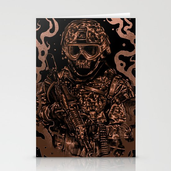 Military skull Stationery Card