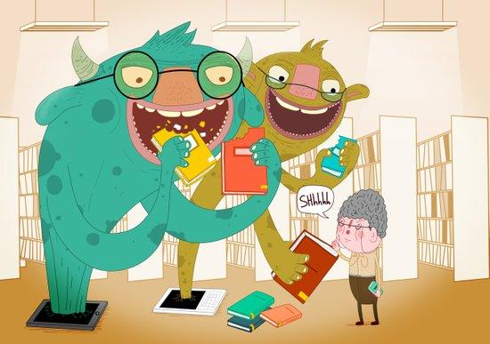 E-book monsters! Canvas Print