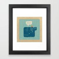 Whale Says Hello To Bird Framed Art Print