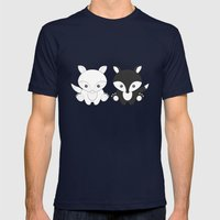 Twins Fox Mens Fitted Tee Navy SMALL