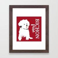 Bichon Frise Dog art Framed Art Print