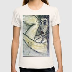 NUDE IN DEEP THOUGHTS version 2 Womens Fitted Tee Natural SMALL