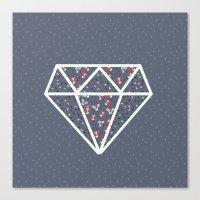 Pattern Diamond Dark Blu… Canvas Print
