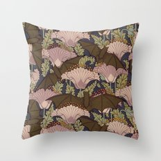 Vintage Art Deco Bat and Flowers Throw Pillow